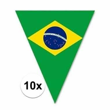 10x vlaggetjes lijn/slinger met brazilie vlaggetjes 5 m
