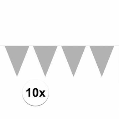 10x zilveren vlaggenlijnen 10 meter
