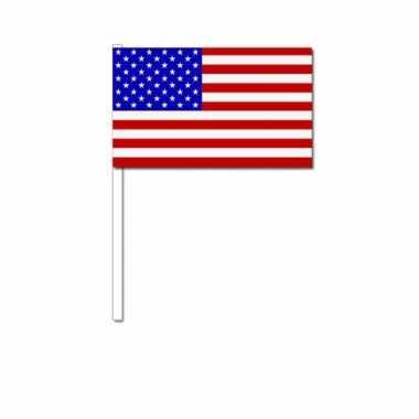 150x stuks zwaaivlaggetjes amerika/usa 12 x 24 cm