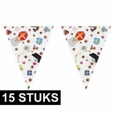 15x feest 5 december vlaggenlijnen 10 m snoepgoed sint/piet