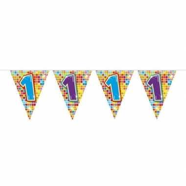 1x mini vlaggenlijn feestversiering met leeftijd 1