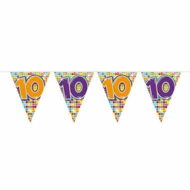 1x mini vlaggenlijn feestversiering met leeftijd 10