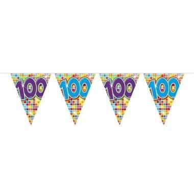 1x mini vlaggenlijn feestversiering met leeftijd 100