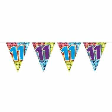 1x mini vlaggenlijn feestversiering met leeftijd 11