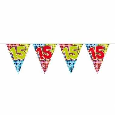 1x mini vlaggenlijn feestversiering met leeftijd 15