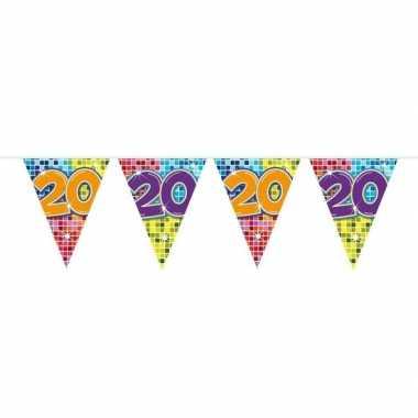1x mini vlaggenlijn feestversiering met leeftijd 20