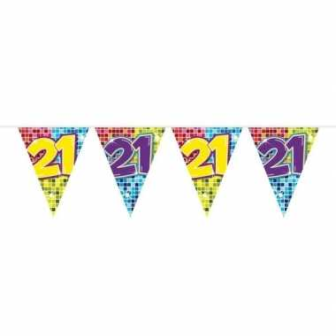 1x mini vlaggenlijn feestversiering met leeftijd 21