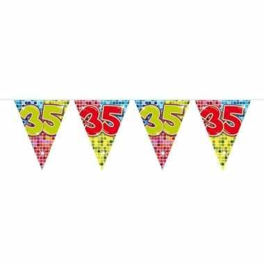 1x mini vlaggenlijn feestversiering met leeftijd 35