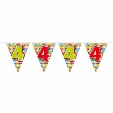 1x mini vlaggenlijn feestversiering met leeftijd 4