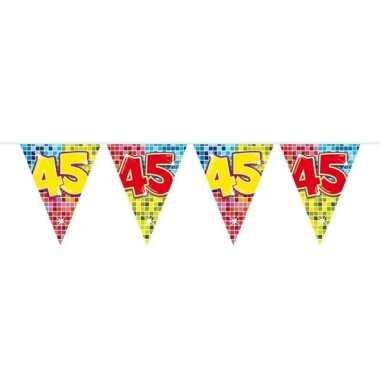 1x mini vlaggenlijn feestversiering met leeftijd 45