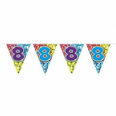 1x mini vlaggenlijn feestversiering met leeftijd 8