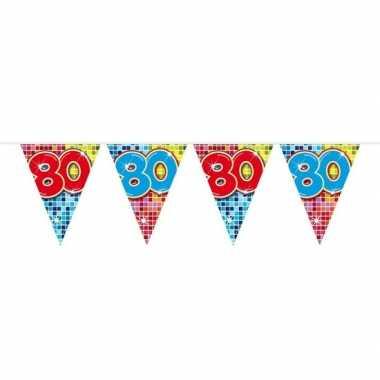 1x mini vlaggenlijn feestversiering met leeftijd 80