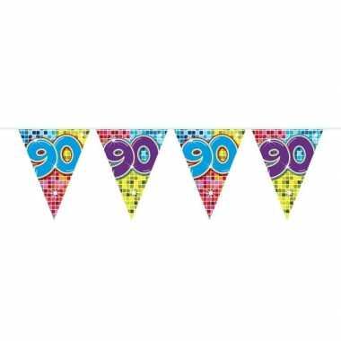 1x mini vlaggenlijn feestversiering met leeftijd 90