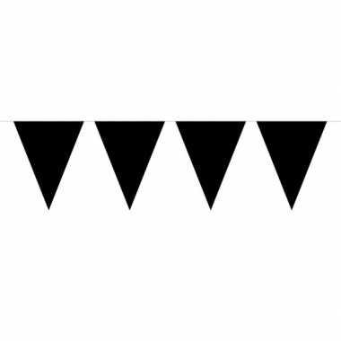 1x mini vlaggenlijn feestversiering zwart 300 cm