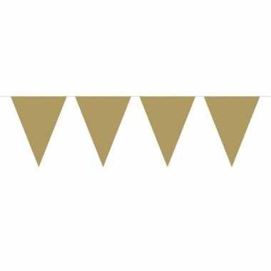 1x mini vlaggenlijn versiering goud 300 cm
