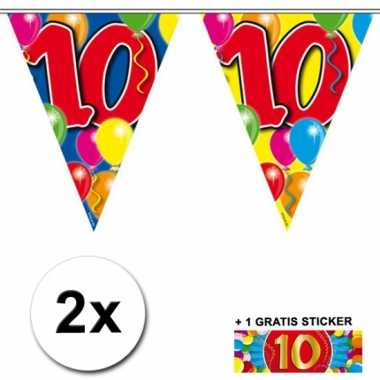 2 x leeftijd vlaggenlijnen 10 jaar met sticker