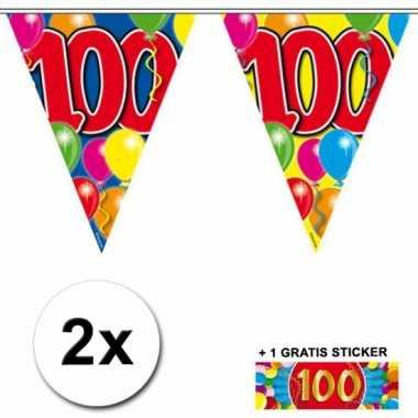 2 x leeftijd vlaggenlijnen 100 jaar met sticker