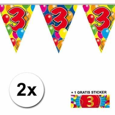 2 x leeftijd vlaggenlijnen 3 jaar met sticker