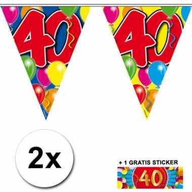 2 x leeftijd vlaggenlijnen 40 jaar met sticker