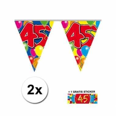 2 x leeftijd vlaggenlijnen 45 jaar met sticker