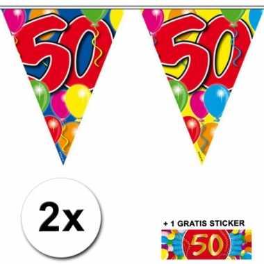 2 x leeftijd vlaggenlijnen 50 jaar met sticker