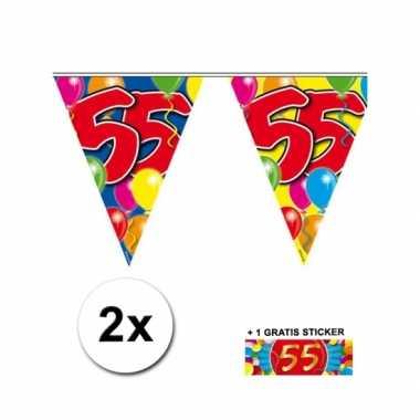 2 x leeftijd vlaggenlijnen 55 jaar met sticker