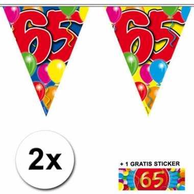 2 x leeftijd vlaggenlijnen 65 jaar met sticker