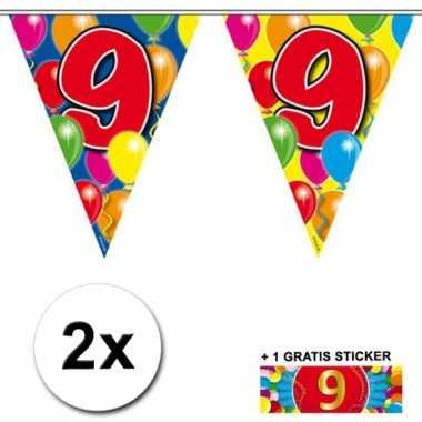 2 x leeftijd vlaggenlijnen 9 jaar met sticker