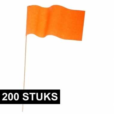 200x zwaaivlaggetje oranje