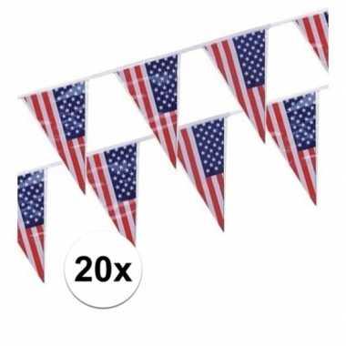 20x amerikaanse/usa vlaggenlijnen van 4 meter