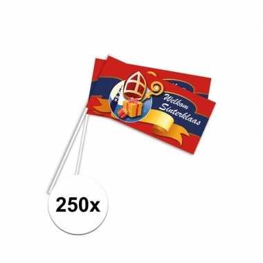 250x pakjesavond rood zwaaivlaggetjes welkom sint