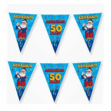 2x 50 abraham party vlaggenlijnen cartoon 10 m verjaadag versiering