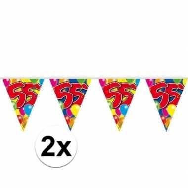 2x 55e verjaardag slingers / vlaggenlijnen 10m