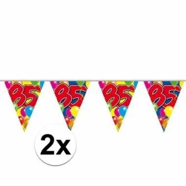 2x 85e verjaardag slingers / vlaggenlijnen 10m