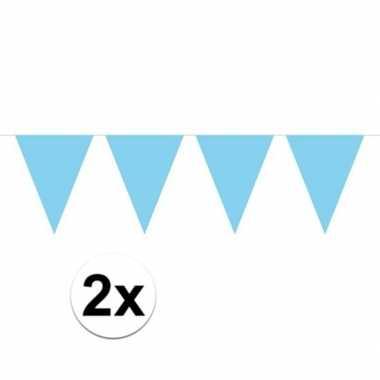 2x baby blauw mini vlaggenlijn feestversiering