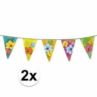 2x bloemen vlaggenlijnen 6 meter