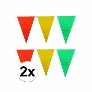 2x decoratie vlaggenlijn geel/rood/groen 10 meter