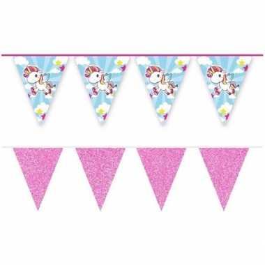 2x eenhoorn en roze glitter vlaggelijnen/slingers 10 meter feestartik