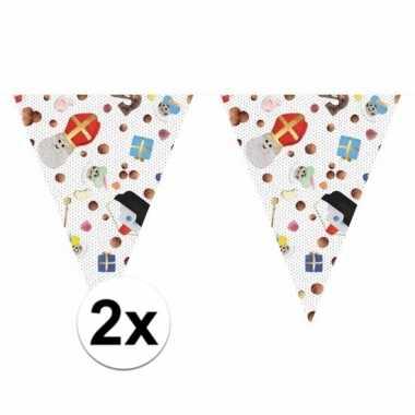 2x feest 5 december vlaggenlijn 10 m snoepgoed sint/piet