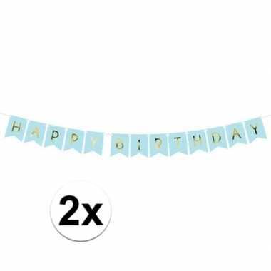 2x feest slinger blauwe vlaggetjes verjaardag