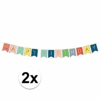 2x feest slinger gekleurde vlaggetjes verjaardag