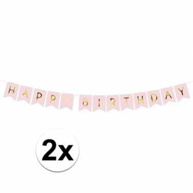 2x feest slinger roze vlaggetjes verjaardag