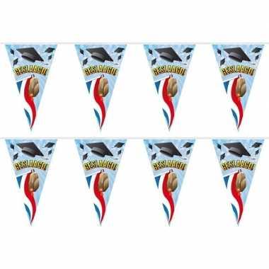 2x feestartikelen geslaagd vlaggenlijntje/slingertje 10 m gevelvlag/t