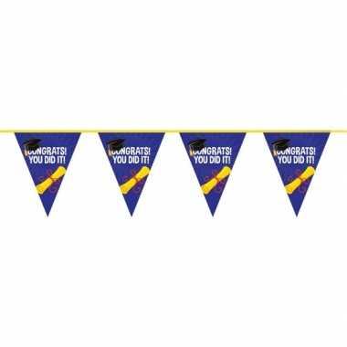 2x feestartikelen geslaagd vlaggenlijntje/slingertje 10 m