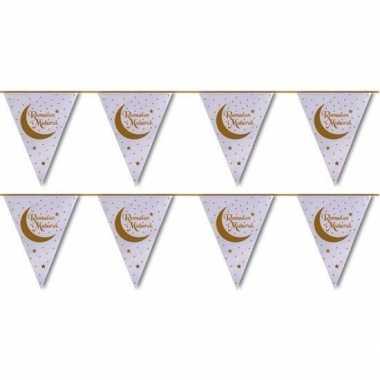 2x feestartikelen wit/gouden ramadan vlaggenlijn eid mubarak 6 meter