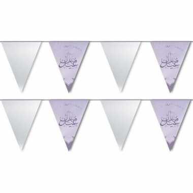 2x feestartikelen zilveren ramadan vlaggenlijn eid mubarak 6 meter