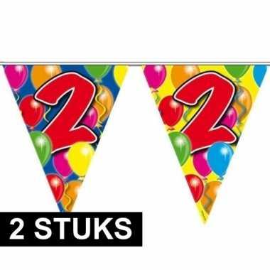 2x leeftijd vlaggenlijnen 2 jaar 10 meter