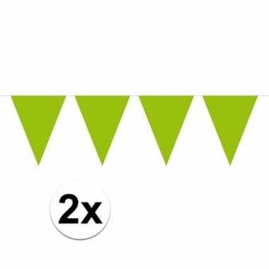 2x lime groen mini vlaggenlijn feestversiering