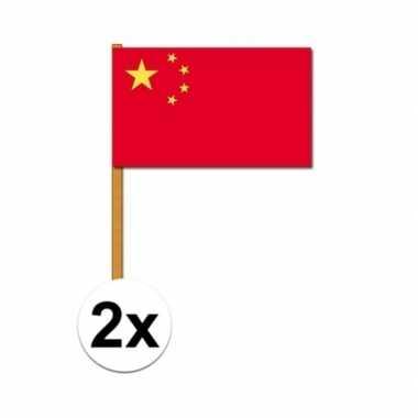 2x luxe zwaaivlaggen china 30 x 45 cm