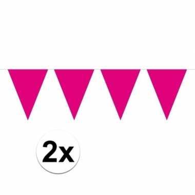 2x magenta magenta roze mini vlaggenlijn feestversiering